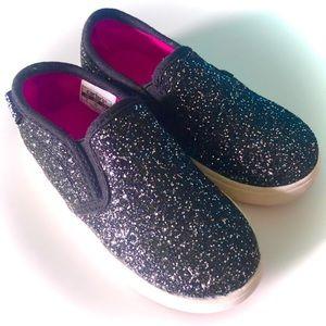 Carters Size 7 Black Glitter Canvas Slip On